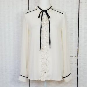 Zara Cream Tie Front Blouse